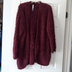 Boho burgandy shaggy long sweater XL